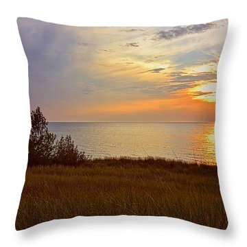 Great Lake Great Sunset Throw Pillow by Michelle Calkins