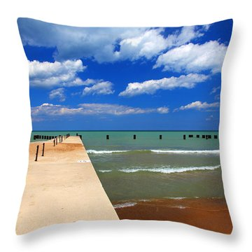 Great Lake Horizon Clouds Throw Pillow