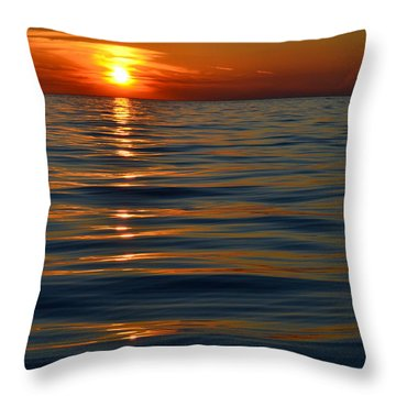Great Lake Sunset Throw Pillow by Michelle Calkins