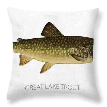 Great Lake Trout Throw Pillow