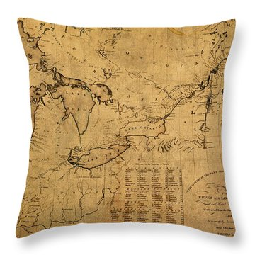 Great Lakes And Canada Vintage Map On Worn Canvas Circa 1812 Throw Pillow