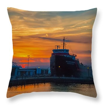 Great Lakes Freighter At Sunset Throw Pillow