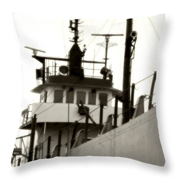 Great Lakes Freighter Throw Pillow by Michael Allen