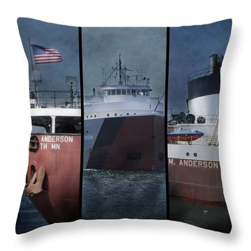 Great Lakes Freighter Triptych Arthur M Anderson Throw Pillow