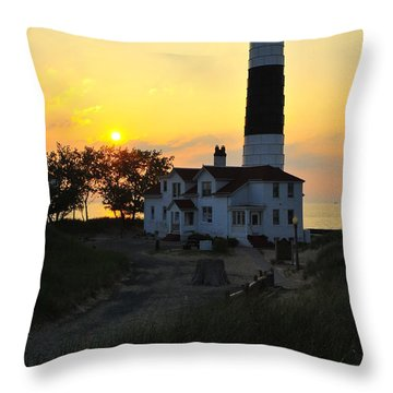 Great Lakes Lighthouse Big Sable Point Throw Pillow by Terri Gostola