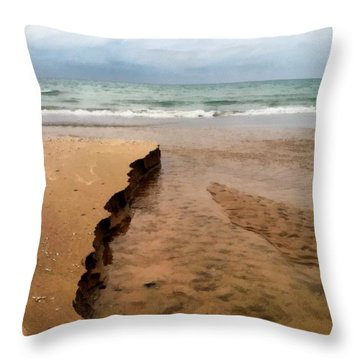 Great Lakes Shoreline Throw Pillow by Michelle Calkins