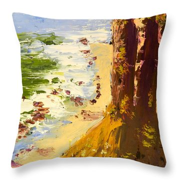 Throw Pillow featuring the painting Great Ocean Road by Pamela  Meredith