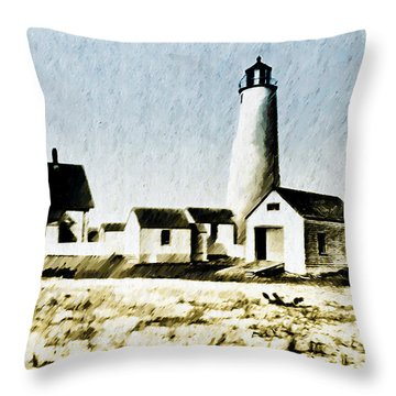 Great Point Lighthouse Nantucket Throw Pillow by Bill Cannon