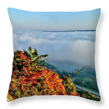 Great River Road Fog Throw Pillow