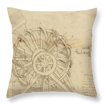Great Sling Rotating On Horizontal Plane Great Wheel And Crossbows Devices From Atlantic Codex Throw Pillow by Leonardo Da Vinci