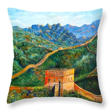 Great Wall Throw Pillow by Lou Ann Bagnall