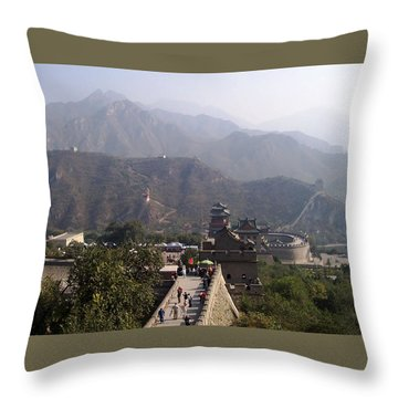 Great Wall Of China At Badaling Throw Pillow by Debbie Oppermann