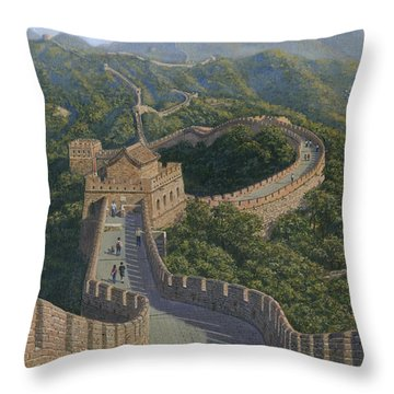 Great Wall Of China Mutianyu Section Throw Pillow by Richard Harpum