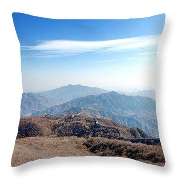 Great Wall Of China - Mutianyu Throw Pillow by Yew Kwang
