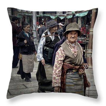 Great Weathered Faces Throw Pillow by Joan Carroll