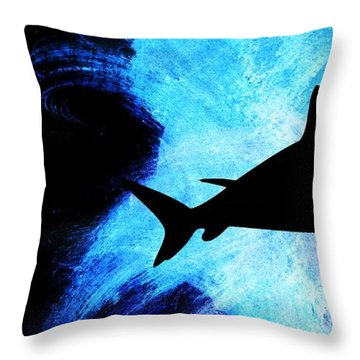 Black And White Throw Pillow featuring the painting Great White by Aaron Berg
