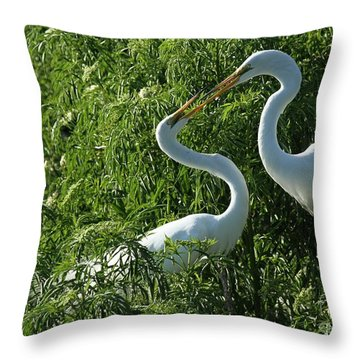 Great White Egret Lovers Throw Pillow by Sabrina L Ryan