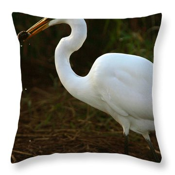 Great White Egret Throw Pillow by Mark Russell