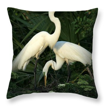 Great White Egret Mates Throw Pillow