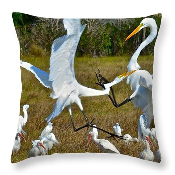 Great White Fight Throw Pillow