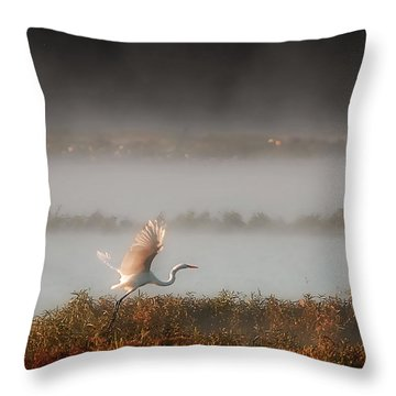 Great White Heron In Morning Mist Throw Pillow by Lena Wilhite