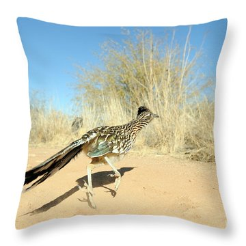 Greater Roadrunner Running Throw Pillow