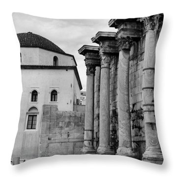 Grecian Columns Bw Throw Pillow