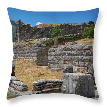 Greece, Epirus. Ruins Of Ancient Throw Pillow
