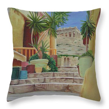 Throw Pillow featuring the painting Greece by Joshua Morton