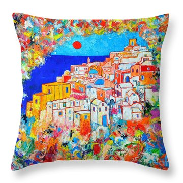 Greece - Santorini Island - Abstract Impression From Oia At Sunset - A Moment In Time Throw Pillow by Ana Maria Edulescu