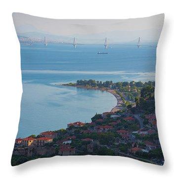 Greece. The Rioantirrio Bridge Throw Pillow