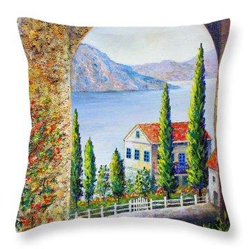 Throw Pillow featuring the painting Greek Arch Vista by Lou Ann Bagnall