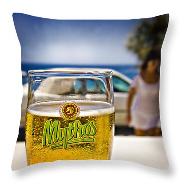 Throw Pillow featuring the photograph Greek Beer Goggles by Meirion Matthias