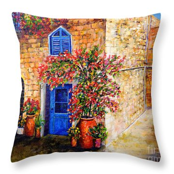 Greek Bouganvillia Throw Pillow by Lou Ann Bagnall