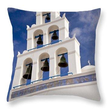 Greek Church Bells Throw Pillow by Brian Jannsen