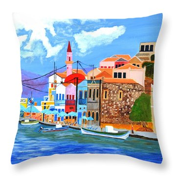 Greek Coast Throw Pillow