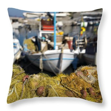 Greek Fishing Harbour Throw Pillow