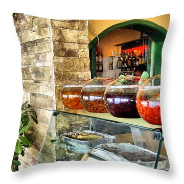 Greek Isle Restaurant Still Life Throw Pillow