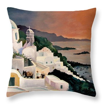 Greek Isles Throw Pillow by Marilyn Smith