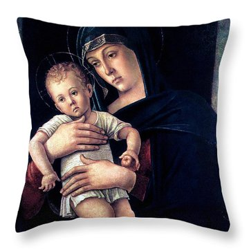 Throw Pillow featuring the painting Greek Madonna With Child 1464 Giovanni Bellini by Karon Melillo DeVega
