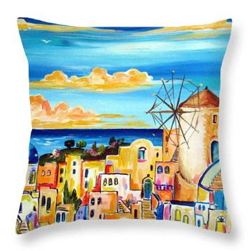 Greek Village Throw Pillow