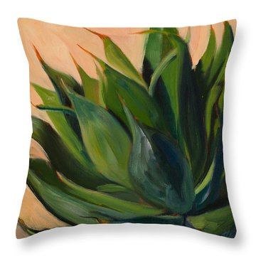 Green Agave Left Throw Pillow