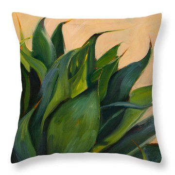 Green Agave Right Throw Pillow