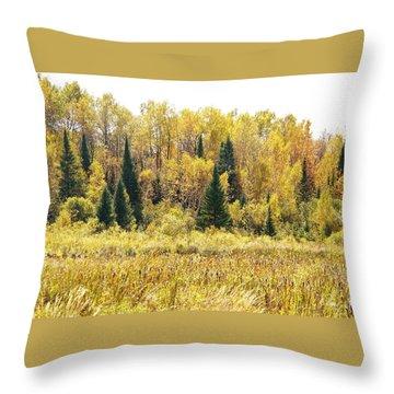 Green Amongst The Gold Throw Pillow by Susan Crossman Buscho
