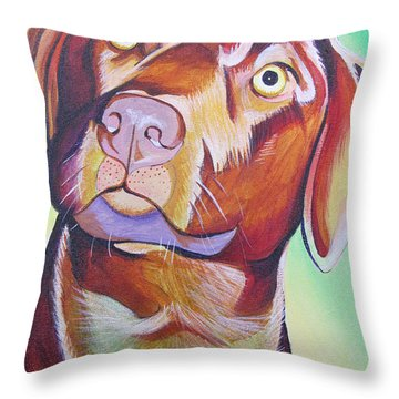 Throw Pillow featuring the painting Green And Brown Dog by Joshua Morton