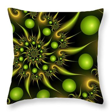 Throw Pillow featuring the digital art Green And Gold by Gabiw Art