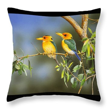 Green And Gold - Yellow-billed Kingfishers Throw Pillow by Frances McMahon