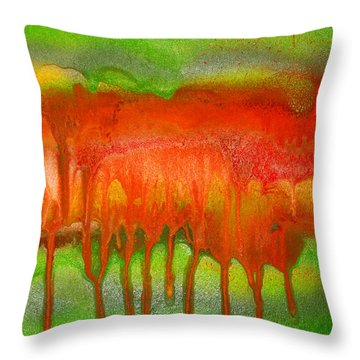 Green And Orange Abstract Throw Pillow