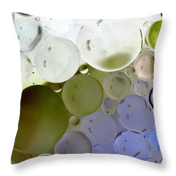 Throw Pillow featuring the photograph Green And Purple Bubbles by Christine Ricker Brandt