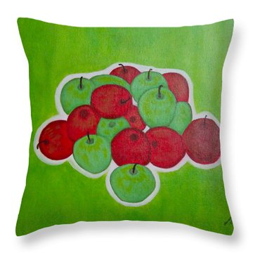 Throw Pillow featuring the painting Green And Red Apples by Lorna Maza